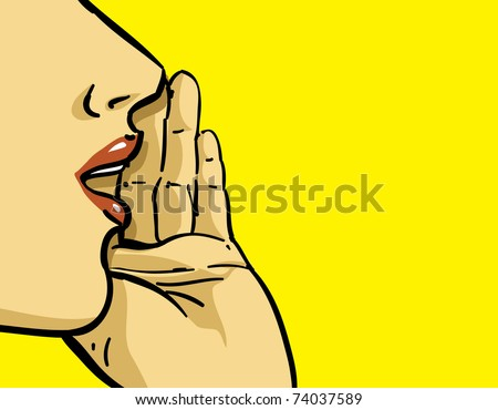 hand gesture of pop art woman illustration, yellow background, spread the word theme  - stock vector