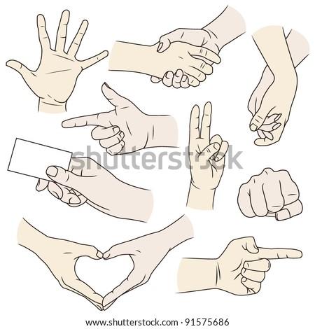 Hand gesture vectors in color - stock vector