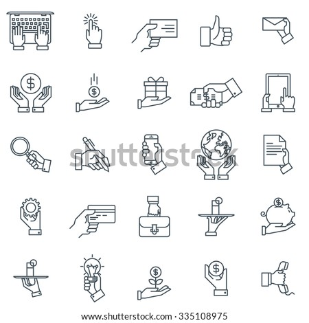 Hand gestures and business icon set suitable for info graphics, websites and print media and interfaces. Line vector icon.  - stock vector