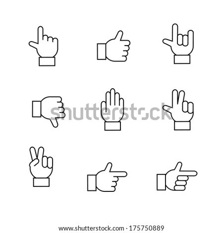 Hand gestures icons set, contour flat isolated vector illustration