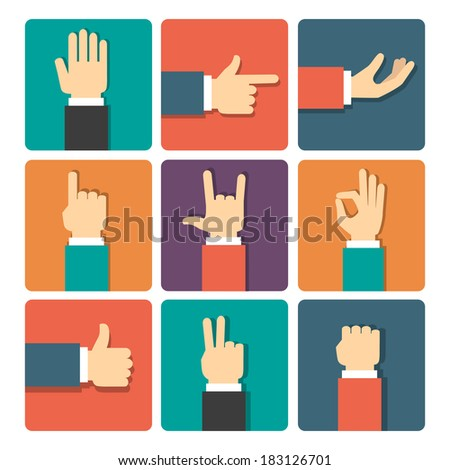 hand gestures icons set vector illustration - stock vector