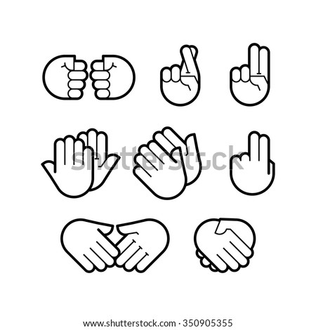 hand gestures. line icons set. Flat style vector icons, emblem, symbol For Your Design - stock vector