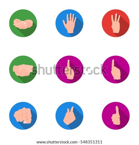 Hand gestures set icons in flat style. Big collection of hand gestures vector symbol stock illustration