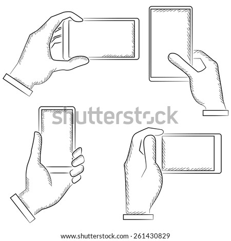 hand gestures, sketch hand holding phones, vector hands - stock vector