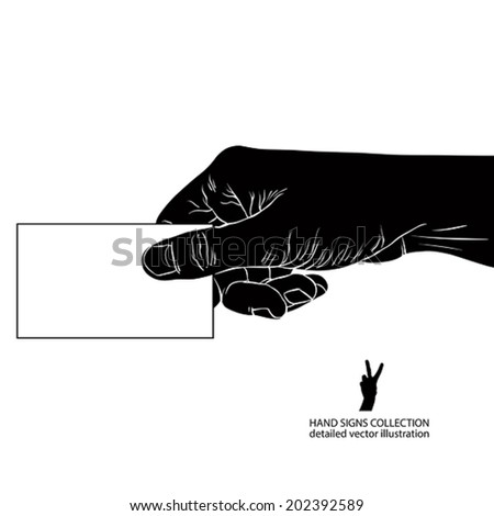 Hand giving business card, detailed black and white vector illustration.
