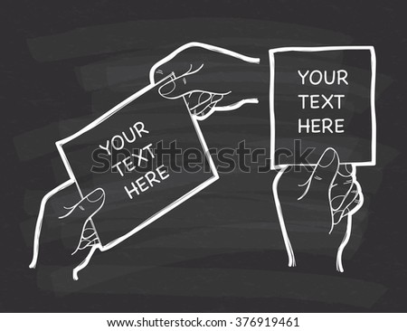 hand giving business card doodle on chalkboard  background - stock vector