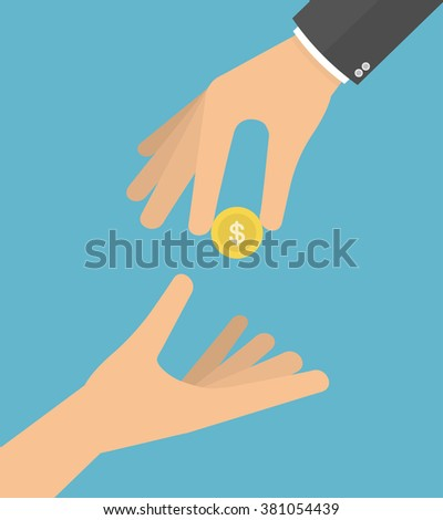 Hand giving coin to another hand. Giving money to the poor or helping the poor concept.  Vector illustration in flat style - stock vector