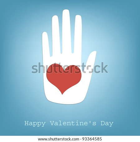 hand giving heart, vector, happy Valentine's Day - stock ...