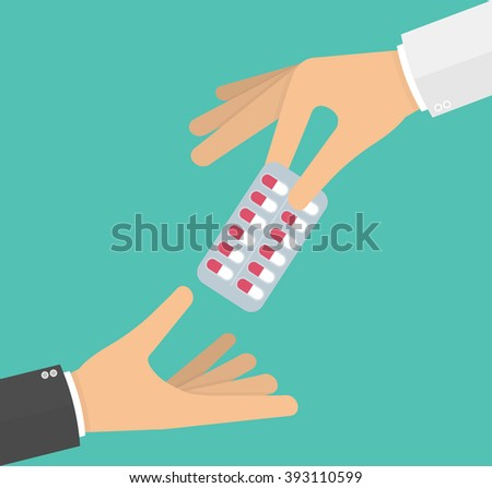 Hand giving medicine pills in a blister pack to another hand. Vector illustration in flat style