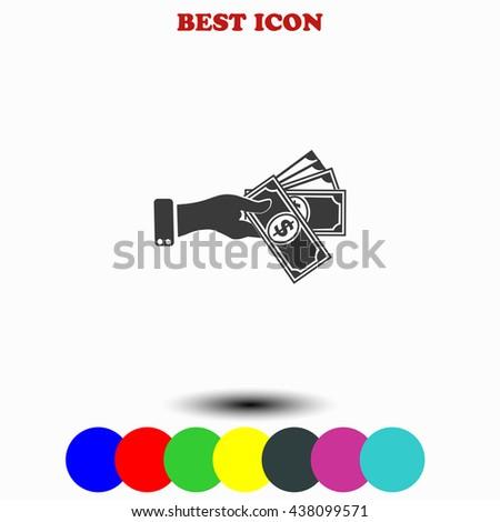 Hand giving money dollar icon. - stock vector