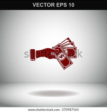 Hand giving money dollar vector icon. - stock vector