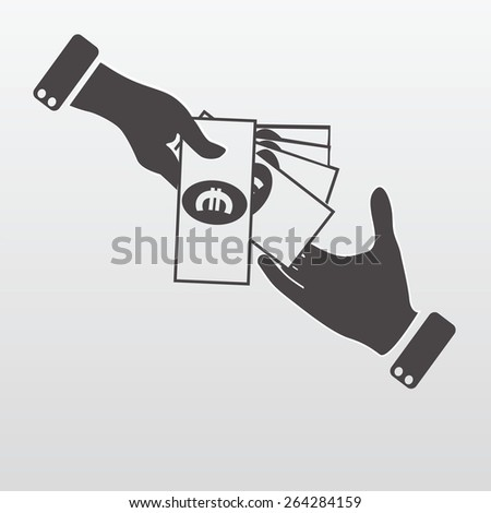 Hand giving money euro to other hand isolated - stock vector