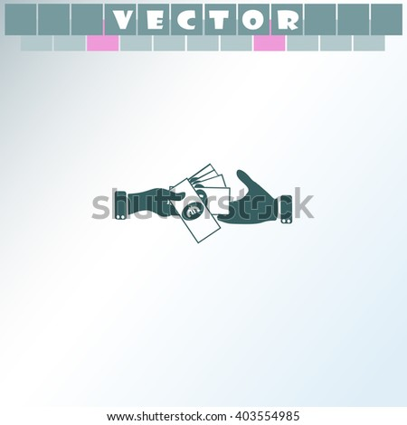 Hand giving money euro to other hand isolated icon. Hand giving money euro to other hand isolated vector. Simple icon isolated on light background. - stock vector