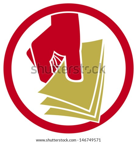 hand giving money symbol (hand with money icon, hand holding banknotes sign, money in the hand button) - stock vector
