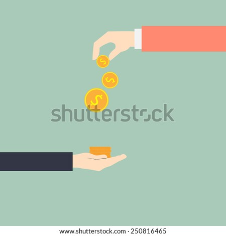 hand giving money to other hand, vector illustration. - stock vector