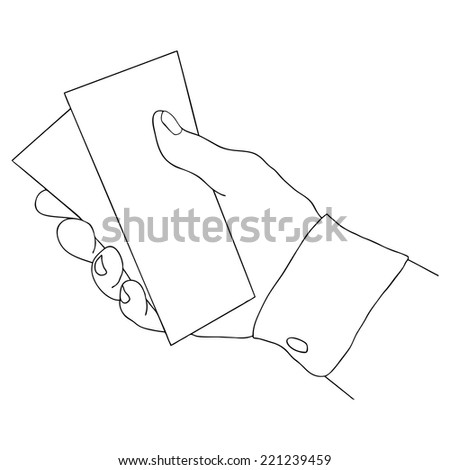 Hand giving or receiving money (hand giving money, hand with money, hand holding banknotes, money in the hand) isolated over white background. Black and white vector illustration. - stock vector