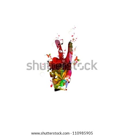 Hand Giving Peace Sign - stock vector