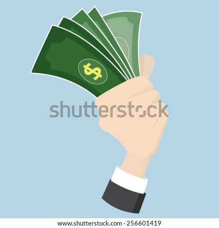 hand grasp catch money cash Dollar ,business and ecology concept vector ,EPS10 - stock vector