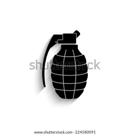 hand grenade - black vector icon with shadow - stock vector