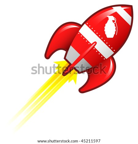 Hand grenade icon on on red retro rocket ship illustration good for use as a button, in print materials, or in advertisements.