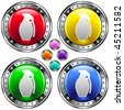 Hand grenade icon on round colorful vector buttons suitable for use on websites, in print materials or in advertisements.  Set includes red, yellow, green, and blue versions. - stock vector