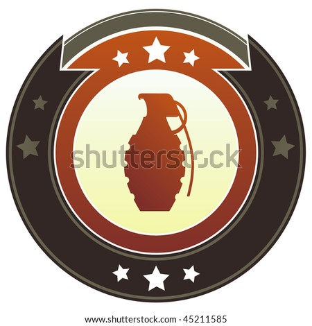 Hand grenade icon on round red and brown imperial vector button with star accents suitable for use on website, in print and promotional materials, and for advertising. - stock vector