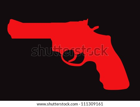 Hand gun silhouette isolated on color background. - stock vector