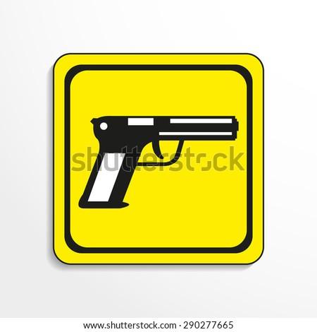 Hand gun. Vector icon. - stock vector