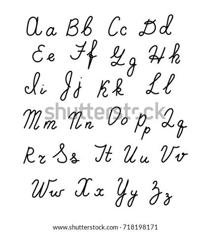 Hand Fonts Handwritten Alphabet Style Modern Calligraphy Cursive Typeface Lettering Vector Font