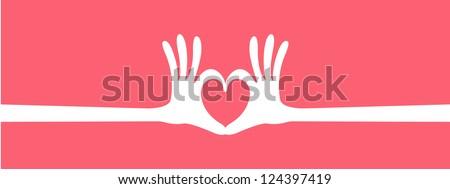 hand heart gesture header - stock vector