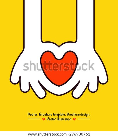 Hand Heart, vector illustration. - stock vector
