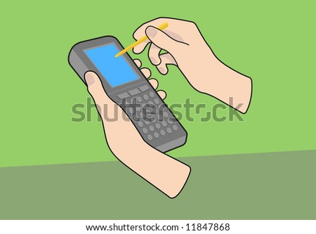 Hand held PDA mobile device with hands and pointer on green background. Vectored illustration.