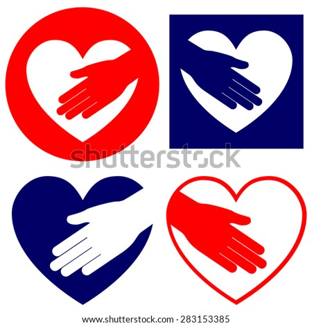 hand helping in heart collection vector illustration