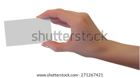 Hand hold blank business card, isolated - stock vector