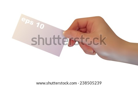 Hand hold blank business card, isolated on white background, 3d, vector.