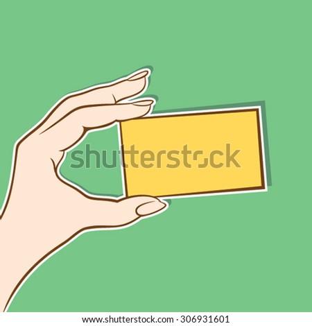 hand hold blank card design vector - stock vector