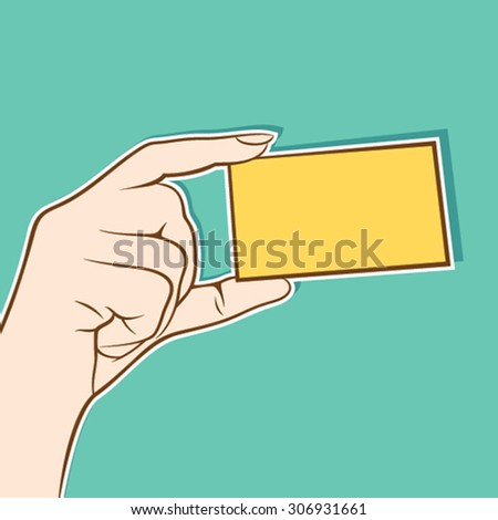 hand hold blank card for write your information design vector - stock vector