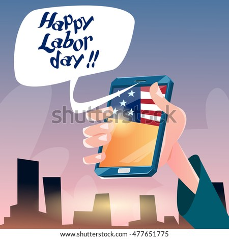 Hand Hold Cell Smart Phone American Labor Day USA Holiday Flat Vector Illustration