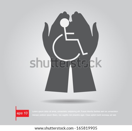 hand hold disabled sign vector icon - stock vector