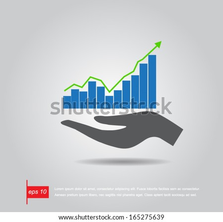 hand hold graph stock vector icon - stock vector