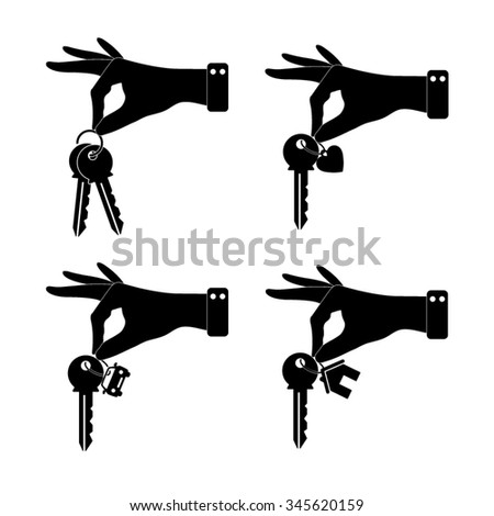 hand hold key - vector icon, set - home, car and heart keys - stock vector