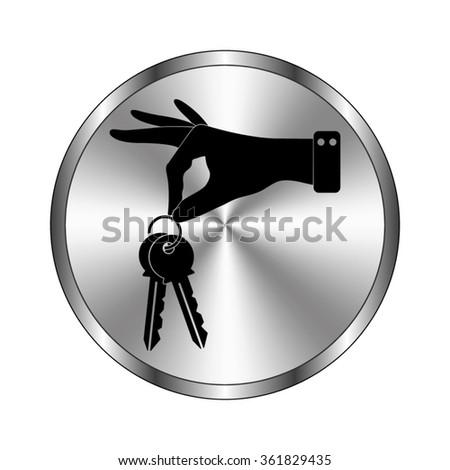 hand hold keys - vector icon;  metal button - stock vector