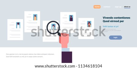 Hand hold magnifying zoom cv resume stock vector 2018 1134618104 hand hold magnifying zoom cv resume choosing people candidate for vacancy job position recruitment concept flat altavistaventures Gallery