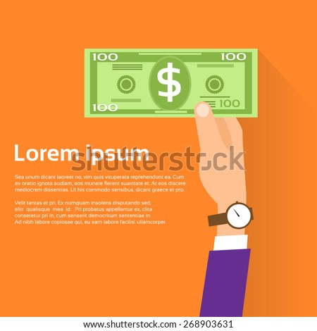 Hand hold One Hundred 100 Dollars Banknote Flat Design with Shadow Vector Illustration - stock vector