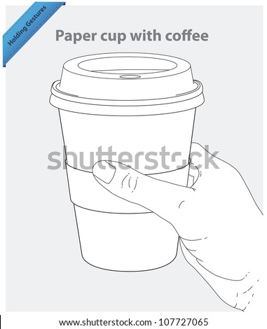 Hand hold paper cup with coffee - stock vector