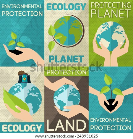 Hand hold plants and globe environmental protection mini poster set isolated vector illustration - stock vector