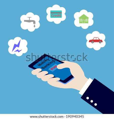 hand hold smart phone and pay money,mobile banking concept,illustration - stock vector