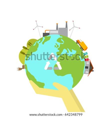 hand hold the earth.recycle concept art.the green planet.