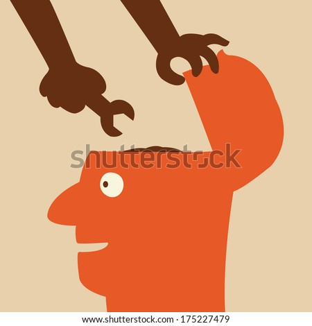 Hand holdig wrench to fix the brain in human head. Abstract background on fixing or changing, or make better way of thinking.   - stock vector