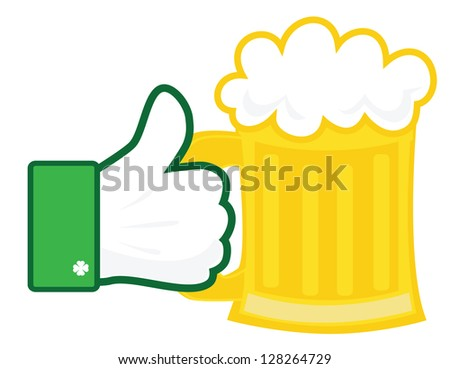 Hand holding a beer mug vector - stock vector